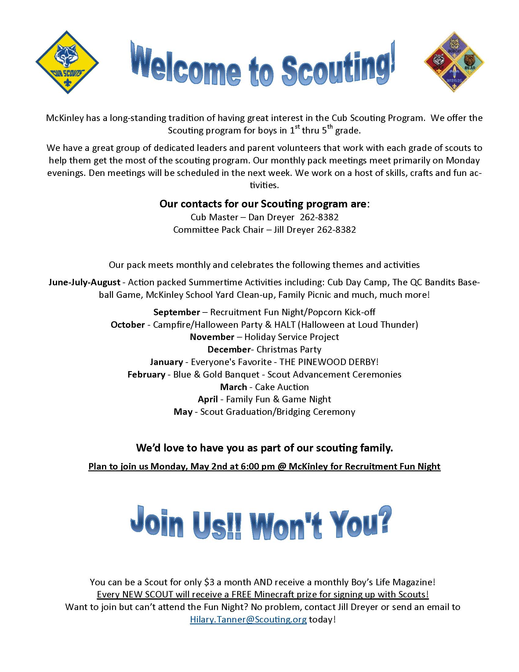 McKinley Cub Scouts Invites Kindergarteners to Join Scouts ...