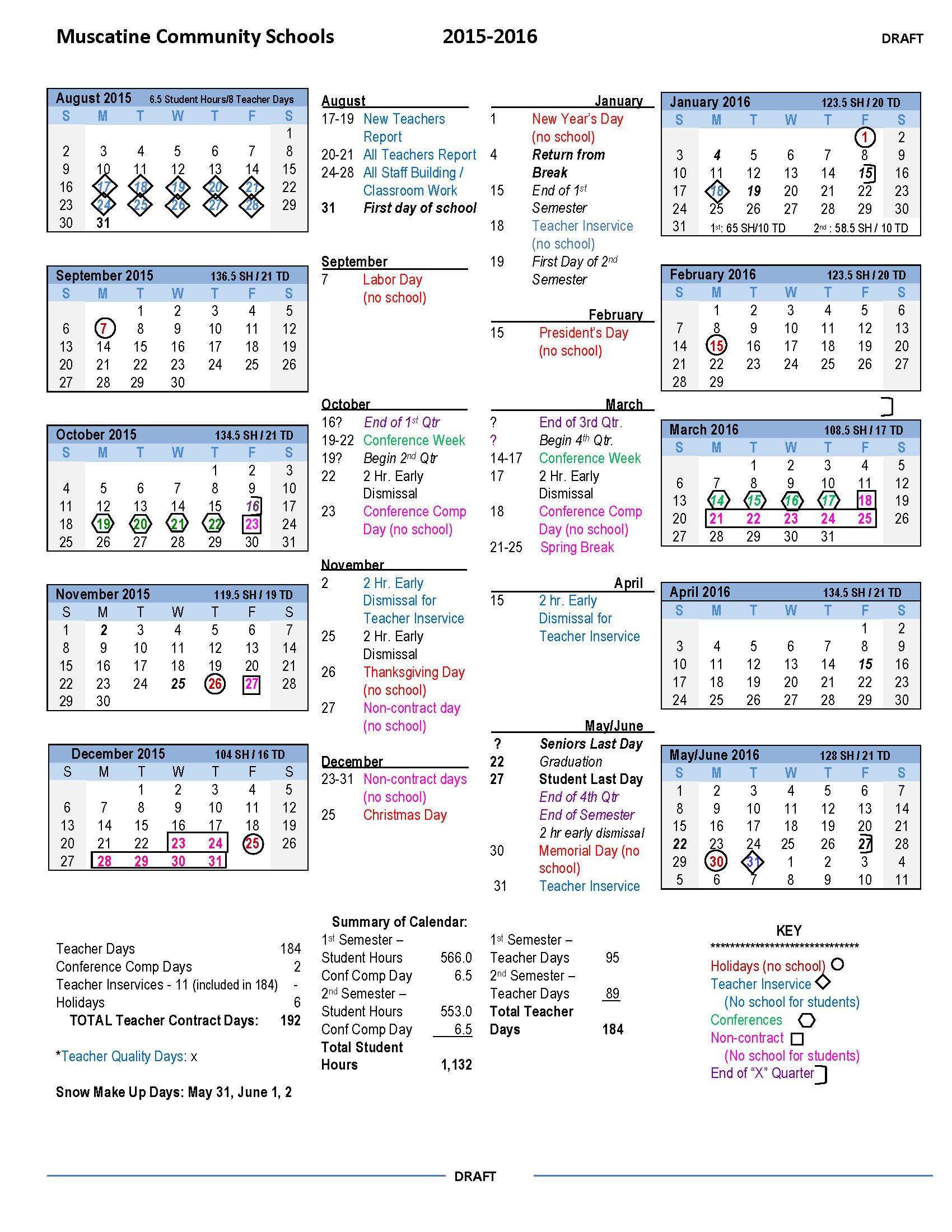 2015-16 Draft Calendar