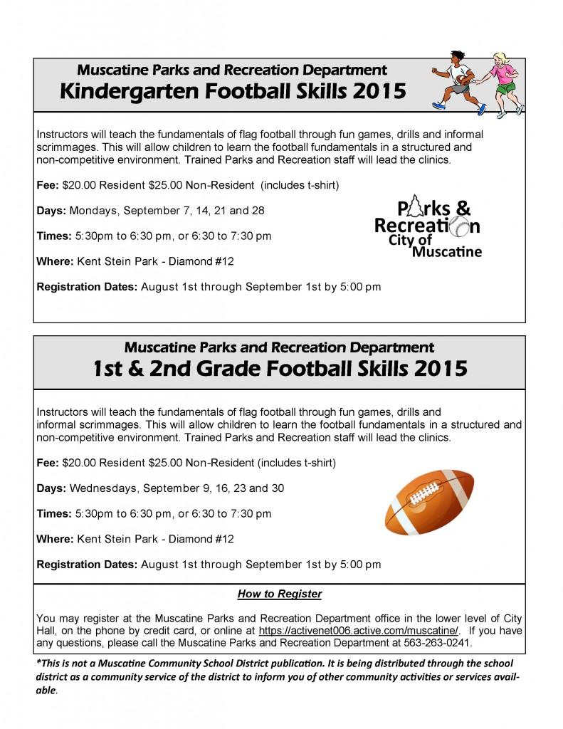 2015 K-2 Football Skills Flyer