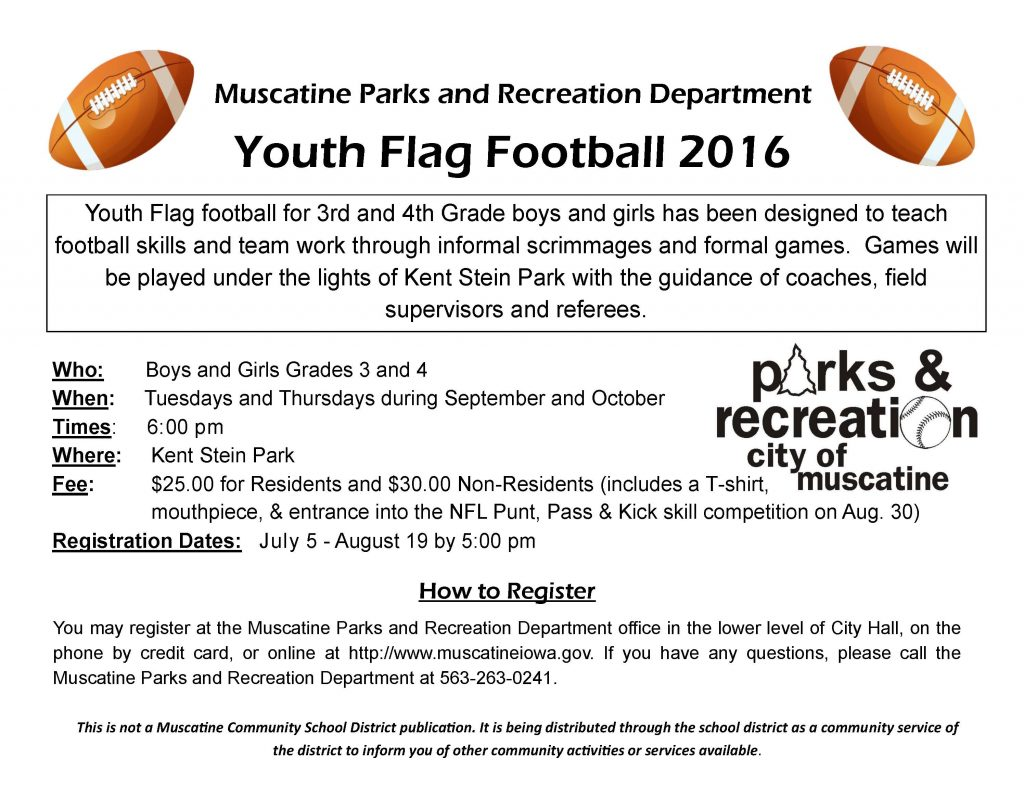 2016 Flag Football school flyer