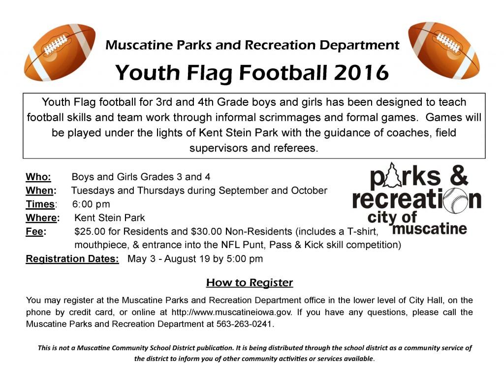 2016 Flag Football school flyer