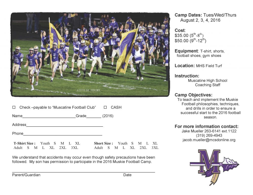 2016 Muskie Football Camp Flyer