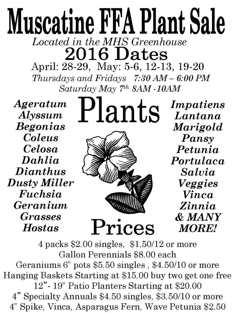 2016 Plant Sale Info Flyer