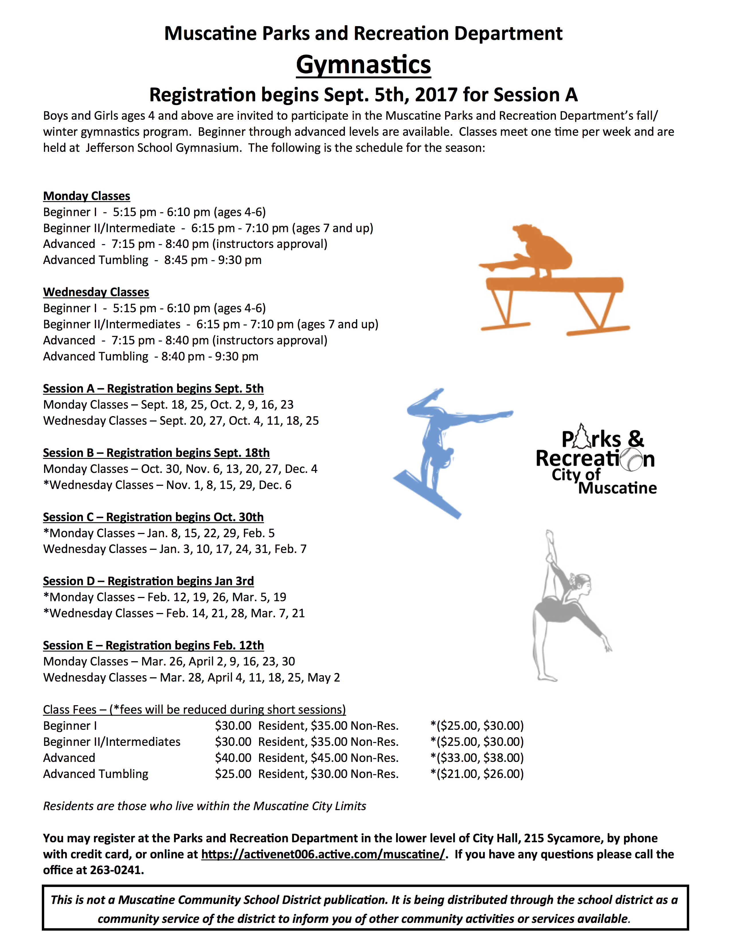 Musc Parks & Rec Gymnastics 2017-18 - Muscatine Community