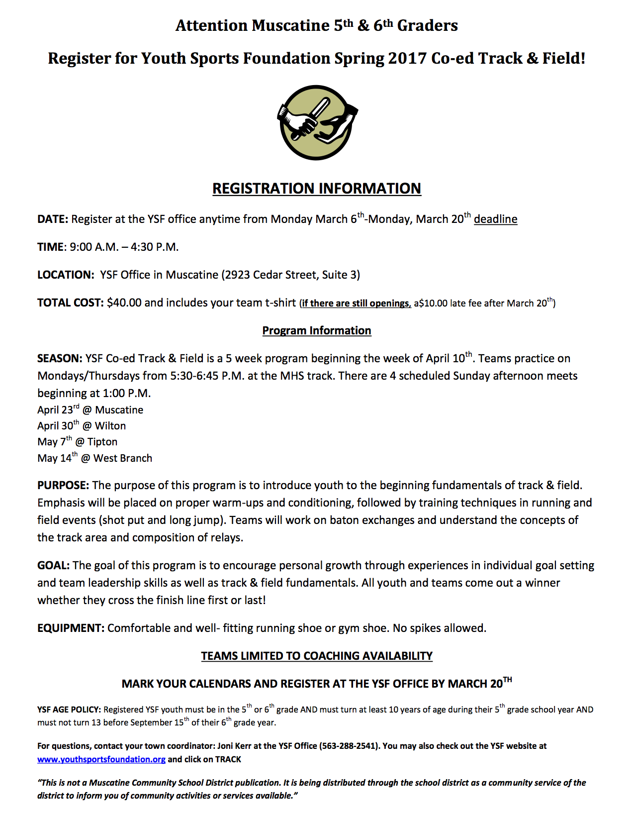 5th & 6th Grade Co-ed Track & Field Sign Up! - Muscatine Community ...