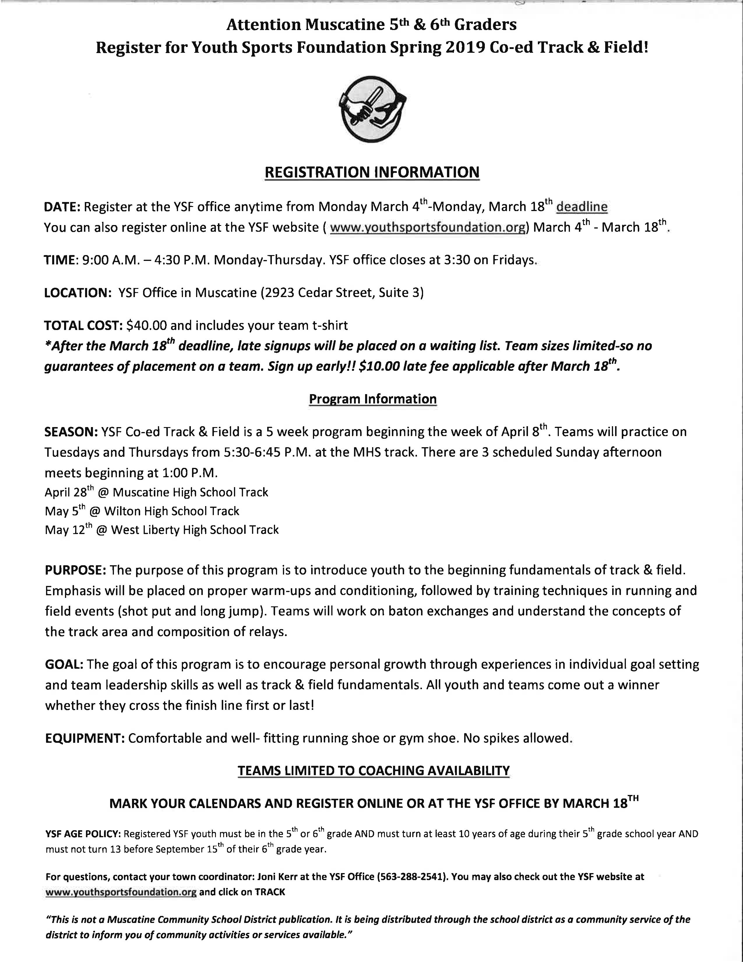 Youth Sports Foundations 5th & 6th Grade Track and Field Sign Up