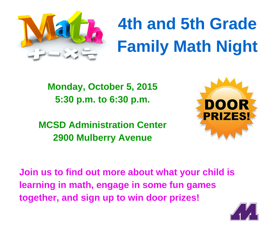 4th and 5th GradeFamily Math Night (1)