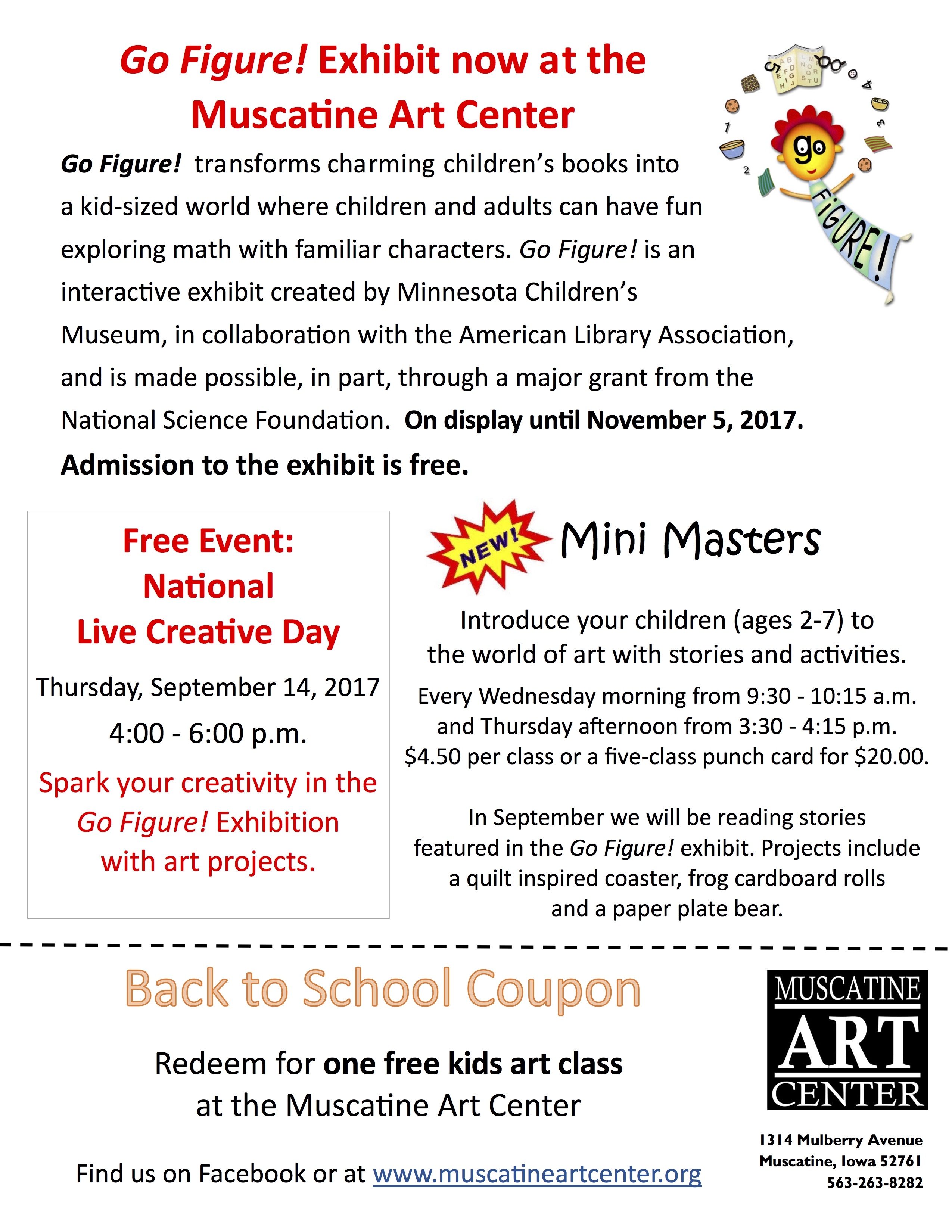 Muscatine Art Center Back-to-School Flyer - Muscatine