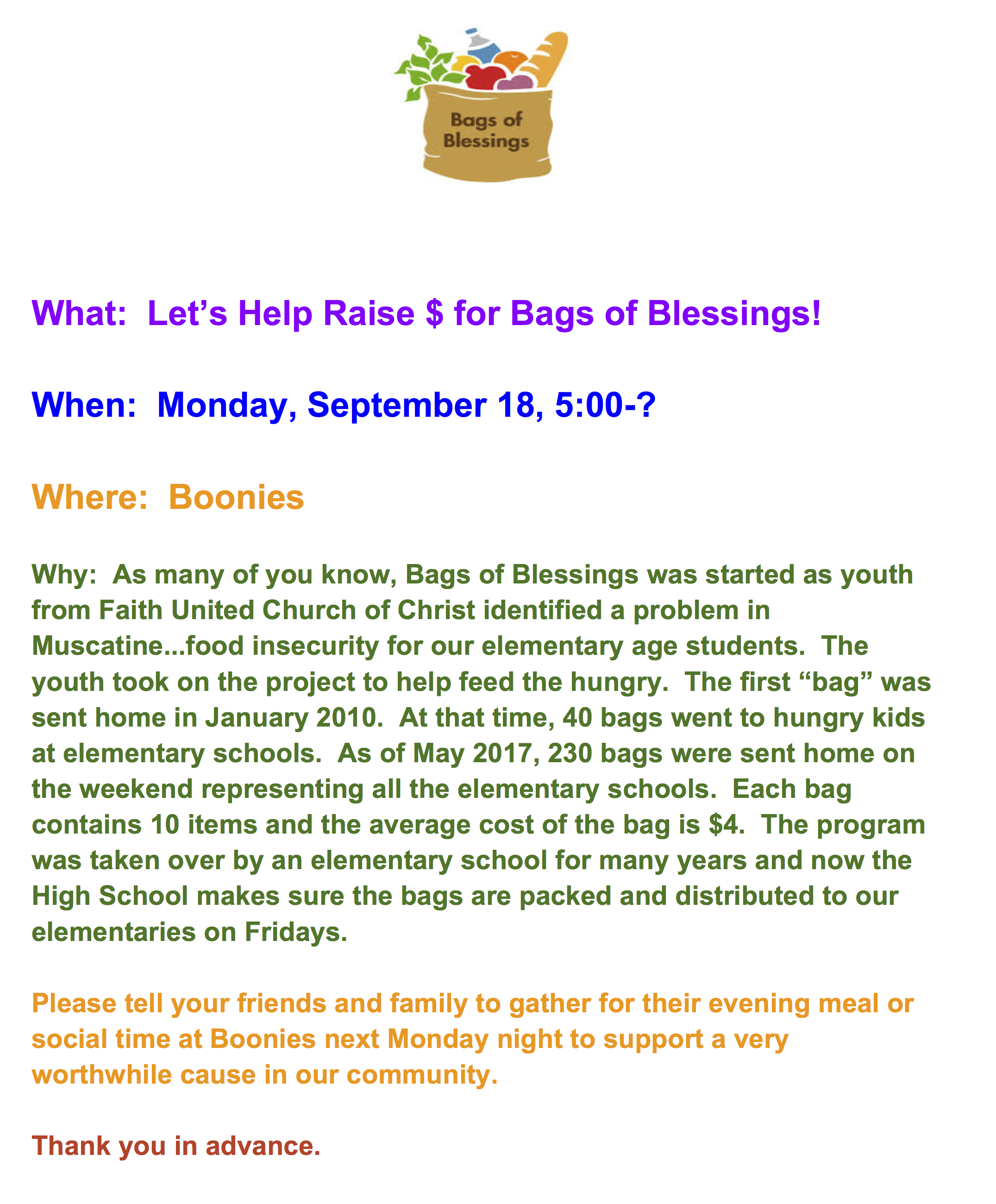 Boonies Bags Of Blessings Fundraiser 918 Muscatine Community