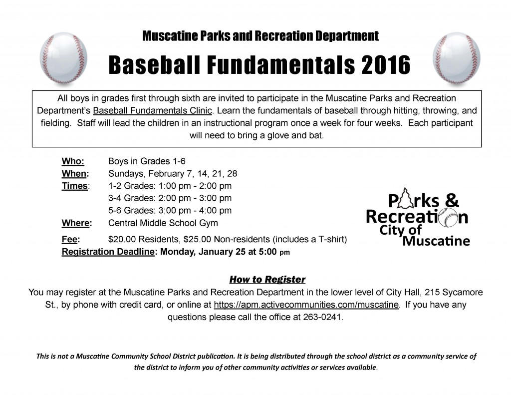 Baseball Fundamentals Clinic school flyer 2016