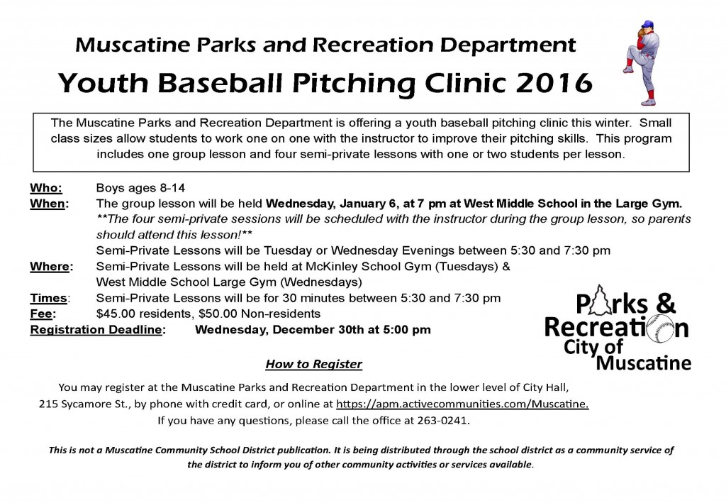 Baseball Pitching Clinic school flyer - 2016