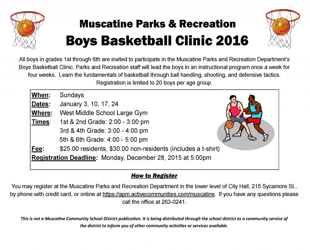 Boys Basketball Clinic school flyer - 2016