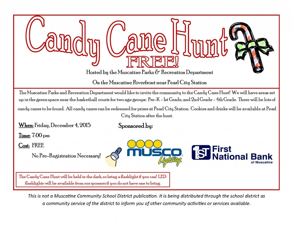 Candy Cane Hunt school flyer December 4