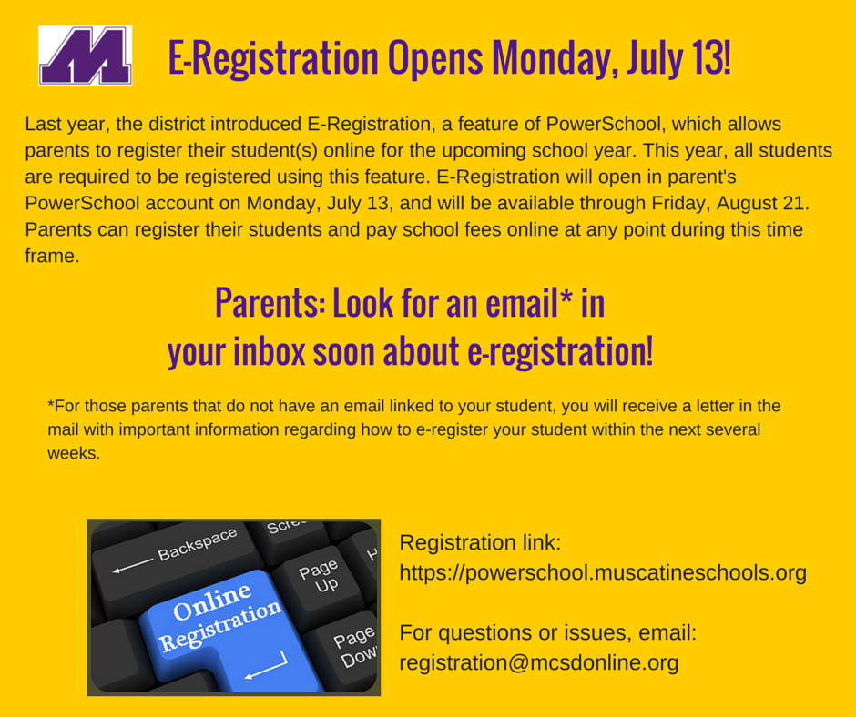 E-RegistrationOpens Monday, July 13!