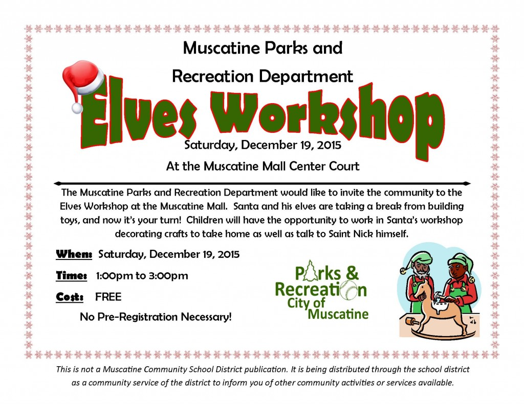 Elves Workshop school flyer 2015