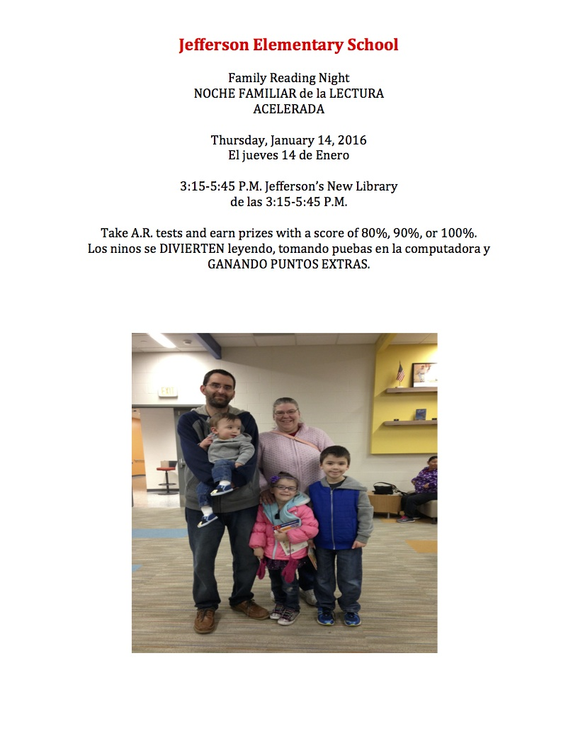 Family Reading Night Invite 2016