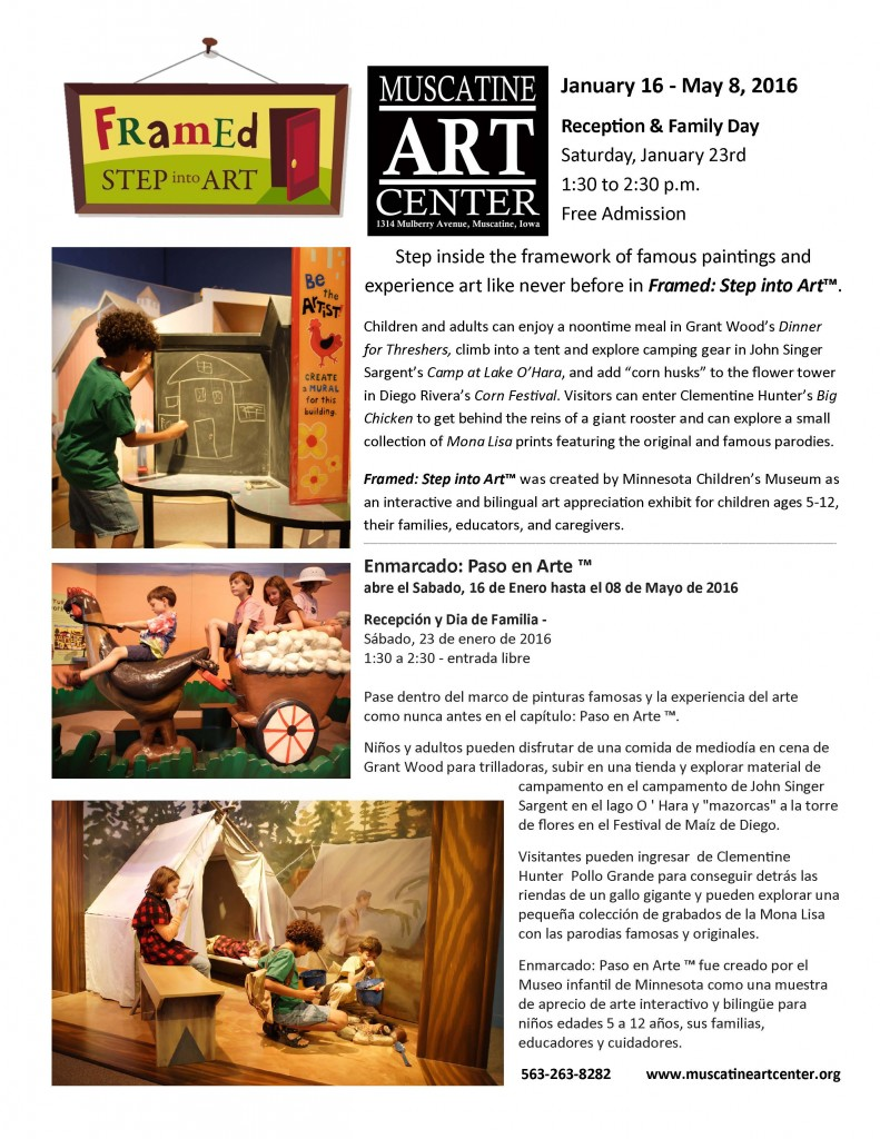 Framed Step Into Art Flier bilingual