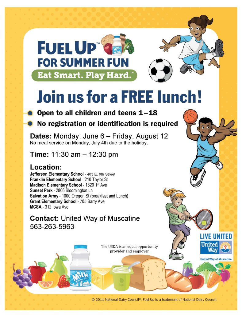 Fuel Up for Summer Fun Advertising flyer_lunch 2016