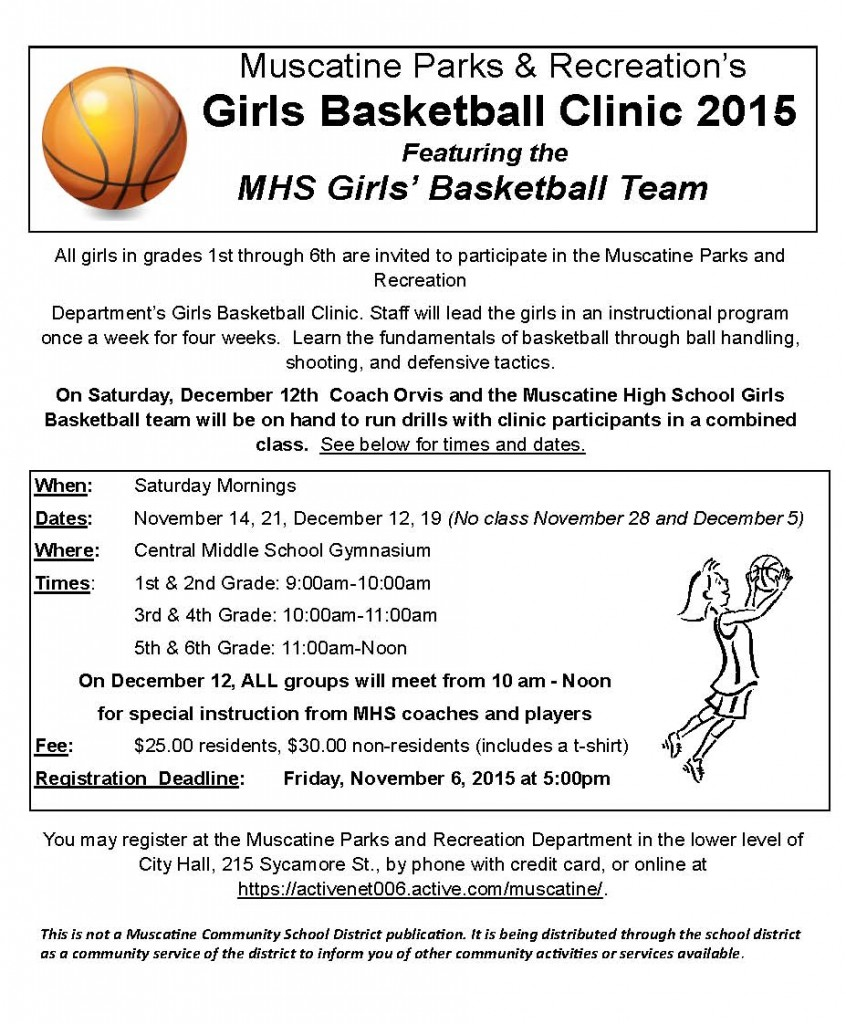 Girls Basketball Clinic School Flyer 2015