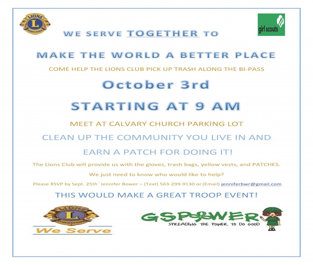 Lions and GS Trash day flyer 10-3-2015 (1)