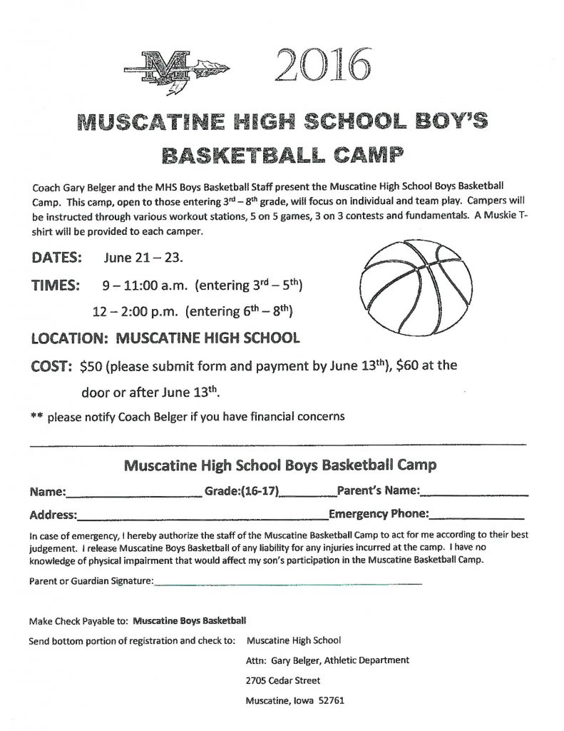 MHS Boys Basketball Camp Flyer