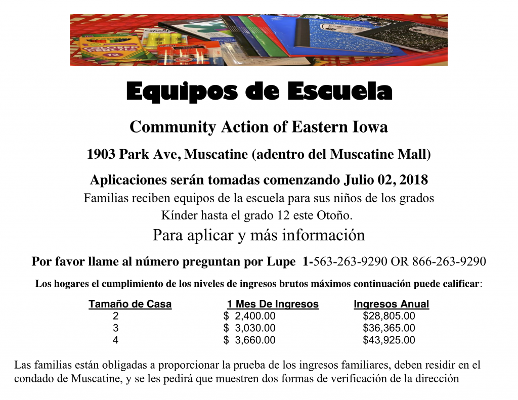Community Action of Eastern Iowa Free School Supplies - Muscatine