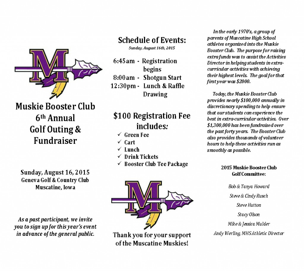 Muskie Booster Club Golf Fundraiser