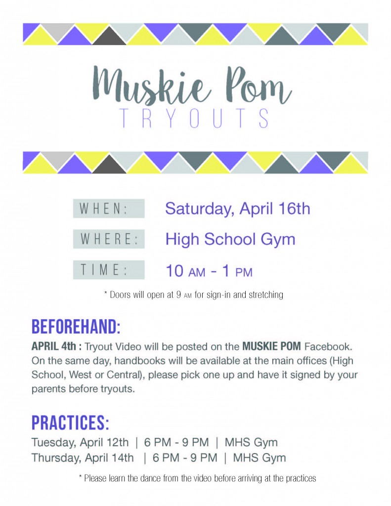 Muskie Pom Tryouts Flyer