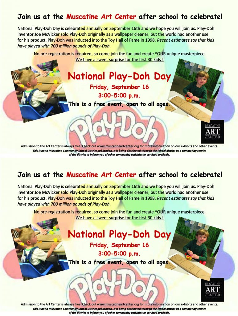 National Play Doh Day at the Muscatine Art Center