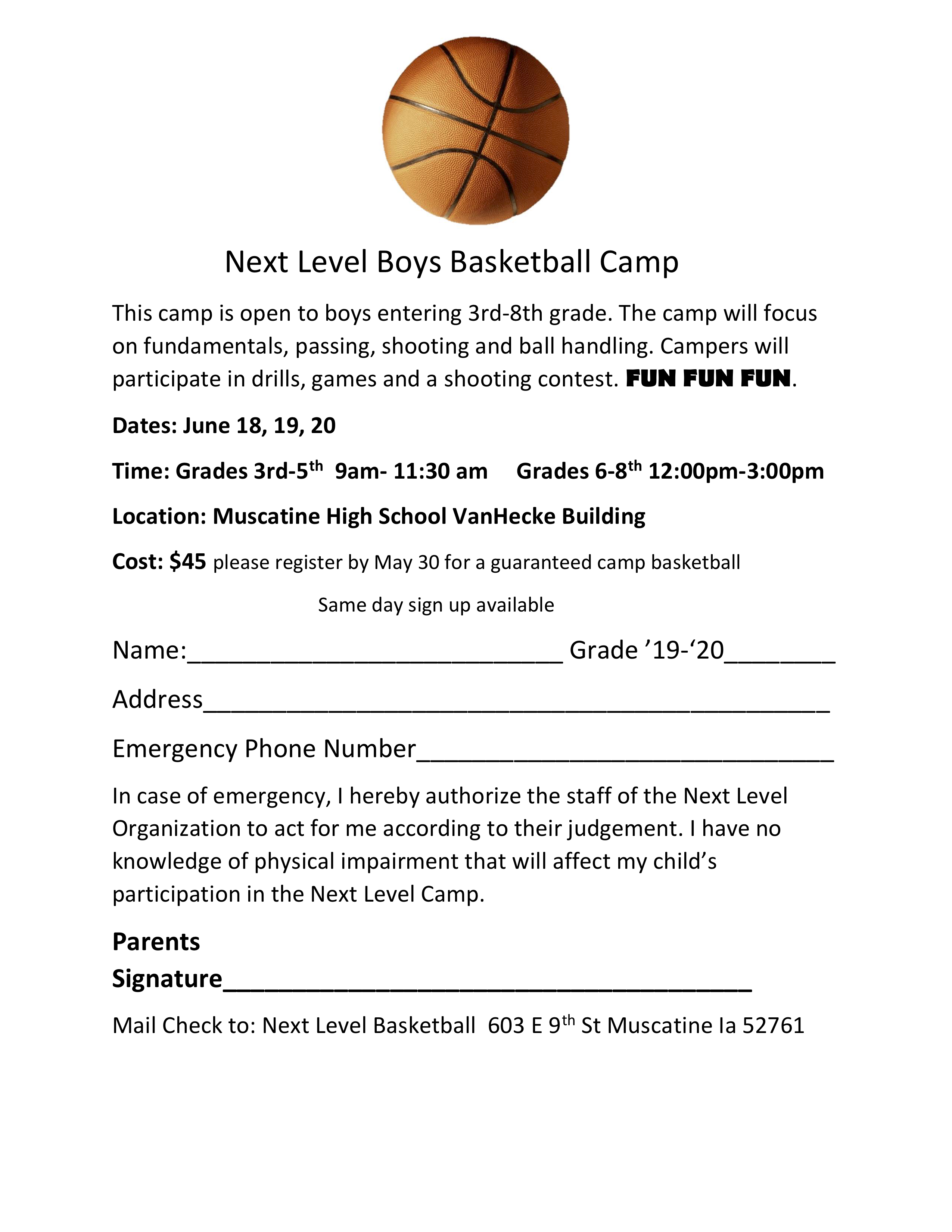 ef547c3a674 Next Level Summer Boys Basketball Camp 2019 - Muscatine Community ...