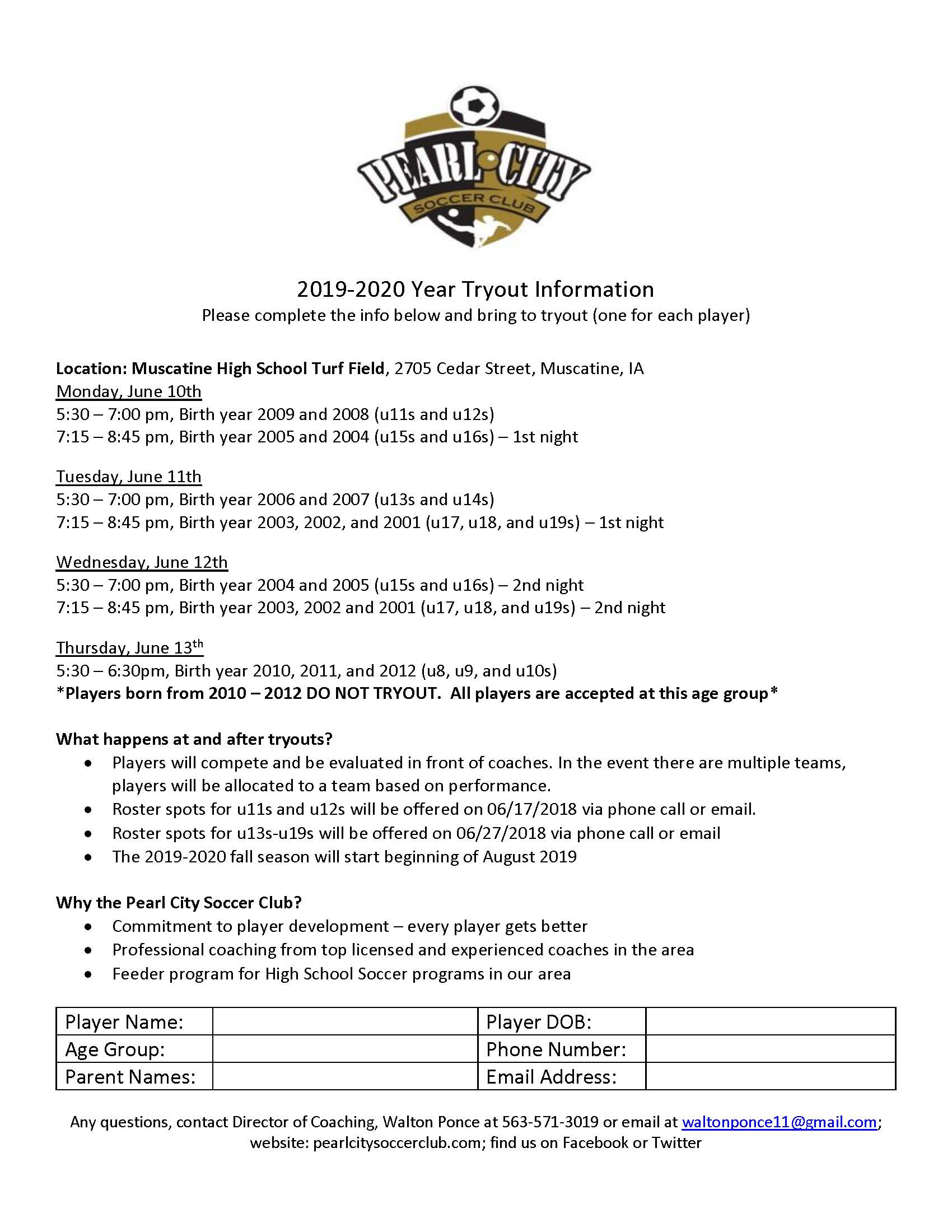 Pearl City Soccer Club Tryouts - Muscatine Community School