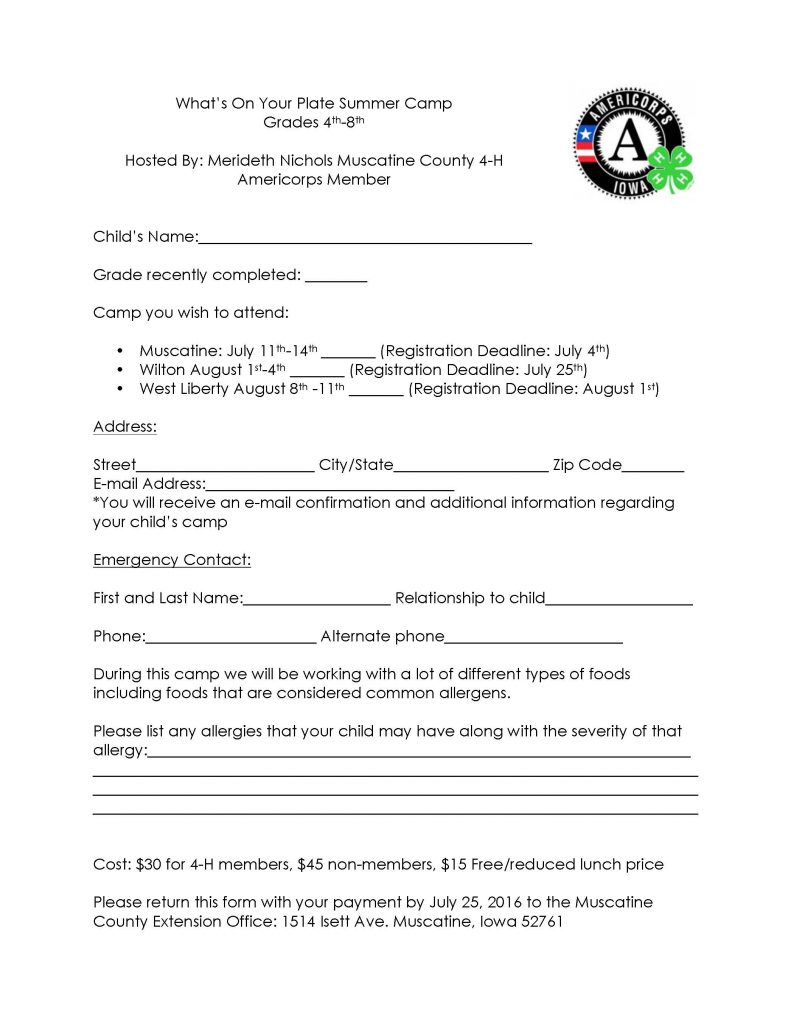 Registration form-Cooking