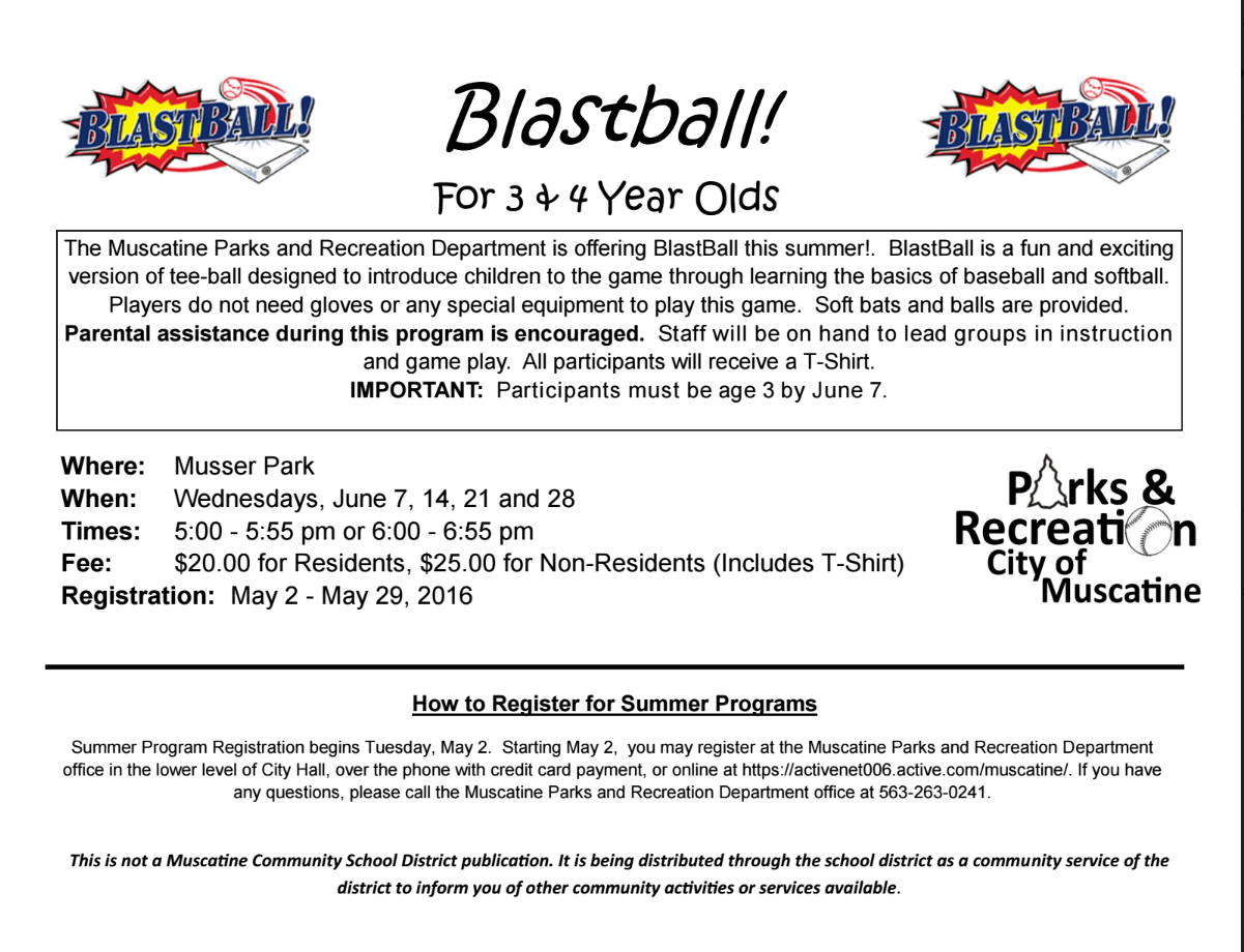 Blastball 2017 with Musc Parks & Rec - Muscatine Community