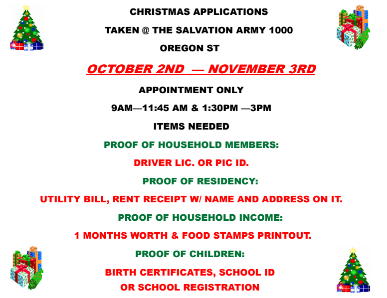salvation army now accepting christmas applications monday october 2 2017
