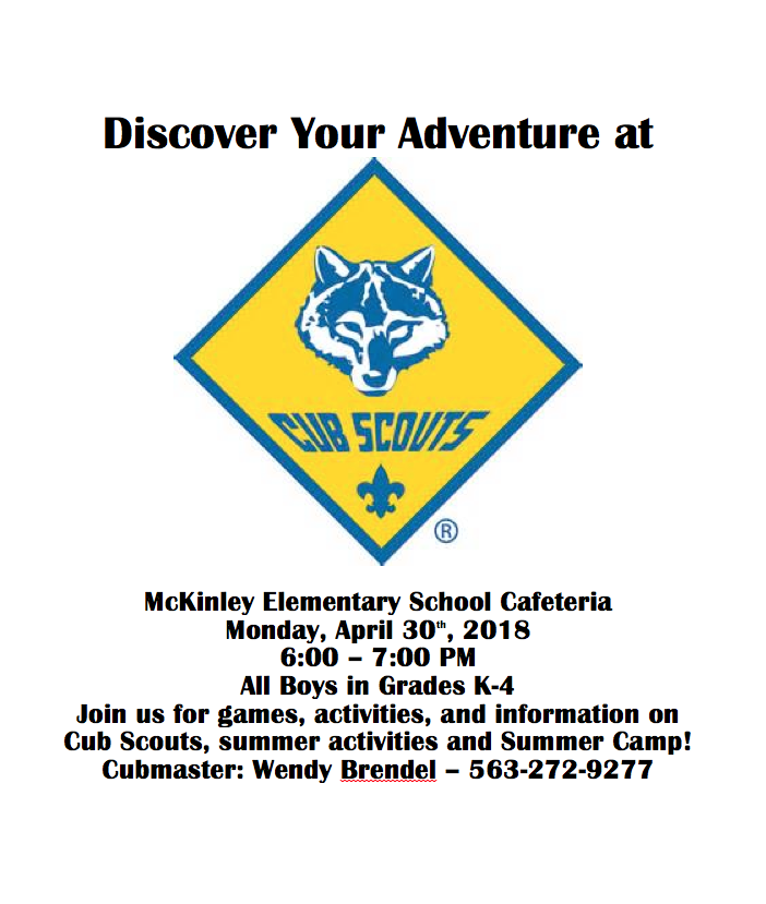 McKinley Cub Scout Recruitment Night - Muscatine Community School