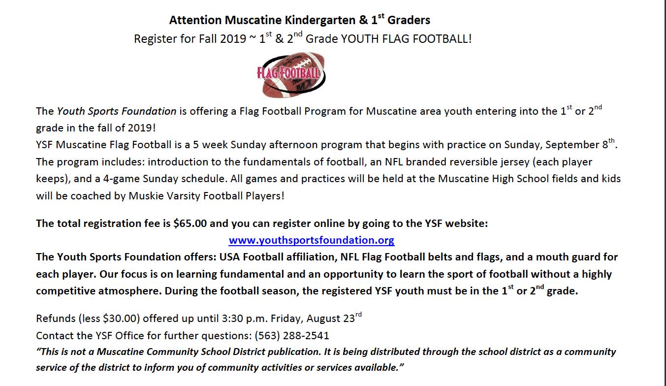 Flag Football - Youth Sports Foundation - Muscatine Community School