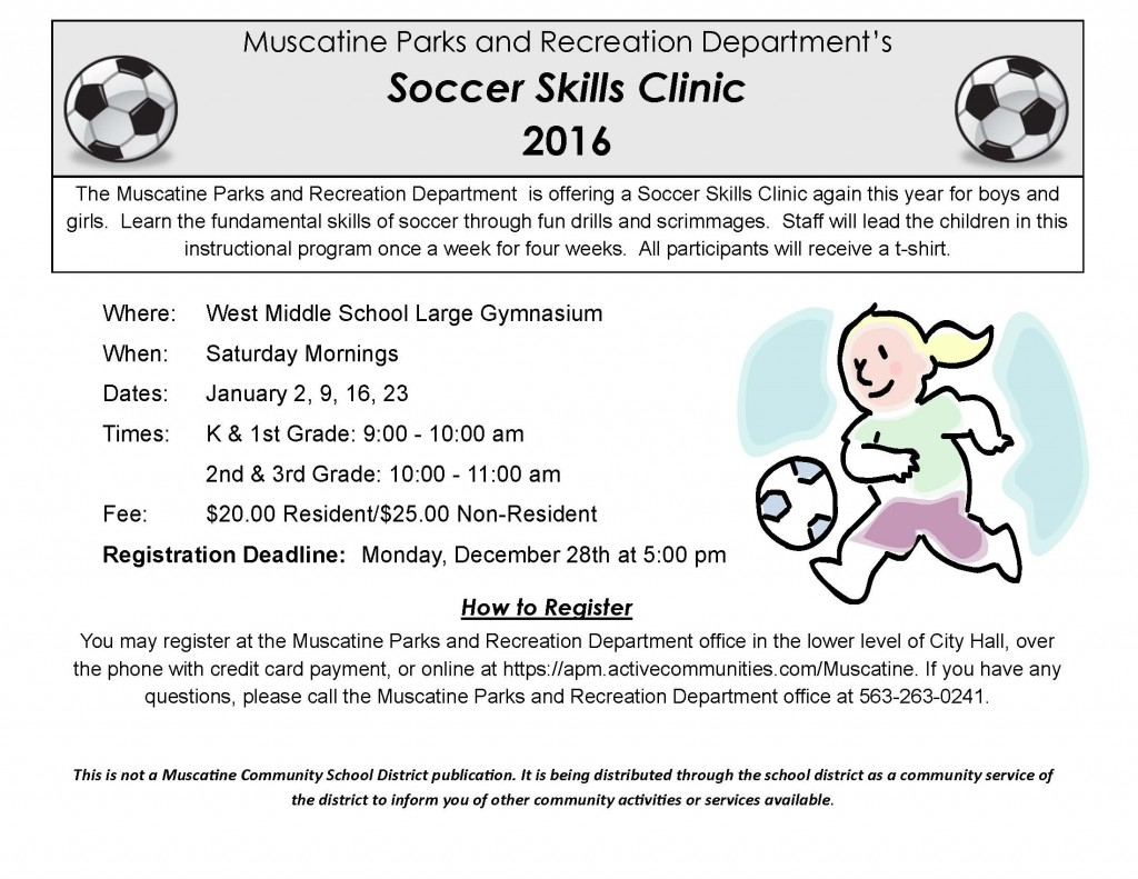 Soccer Skills Clinic school flyer 2016