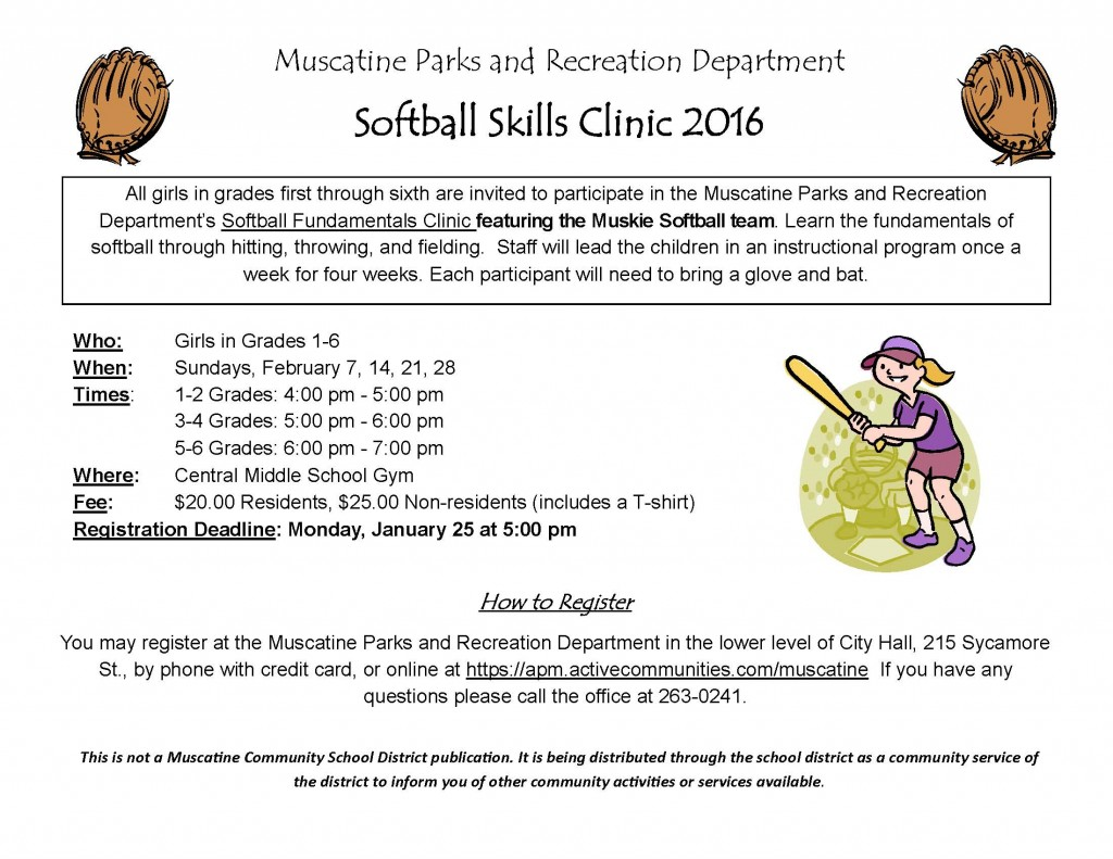 Softball Skills Clinic school flyer 2016