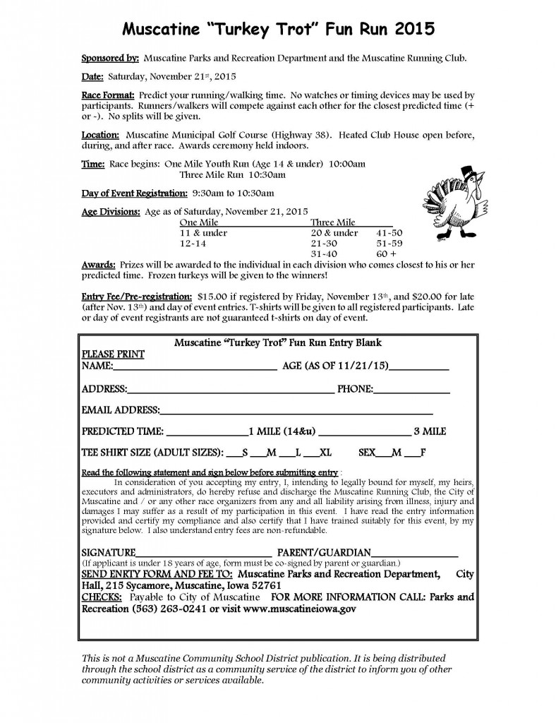 Turkey Trot Registration Form 2015 School Flyer