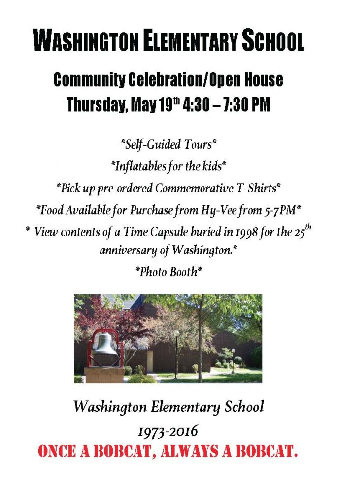 Washington Elementary School Community Celebration Open House Flyer