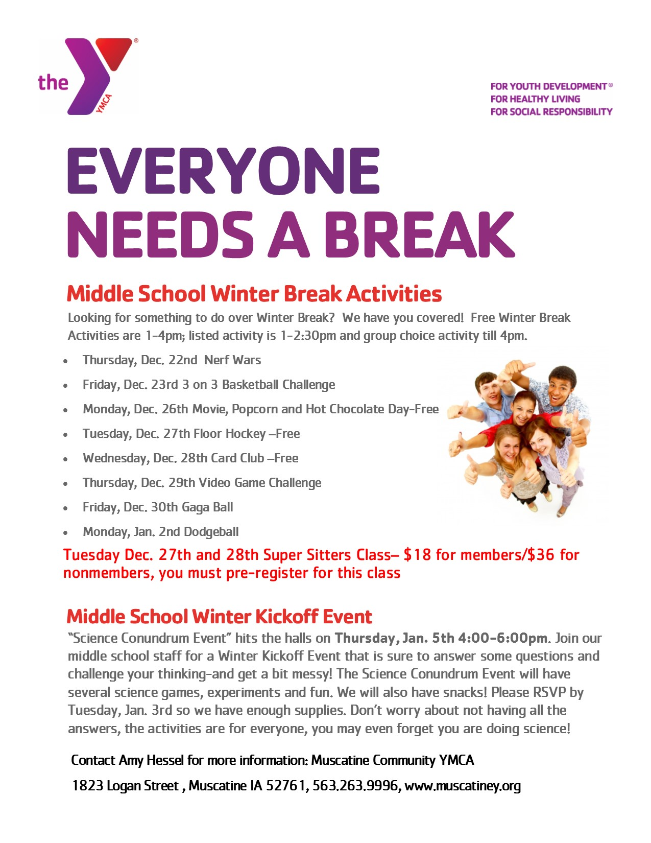 2016 winter break activities at the y for middle school muscatine community school district. Black Bedroom Furniture Sets. Home Design Ideas