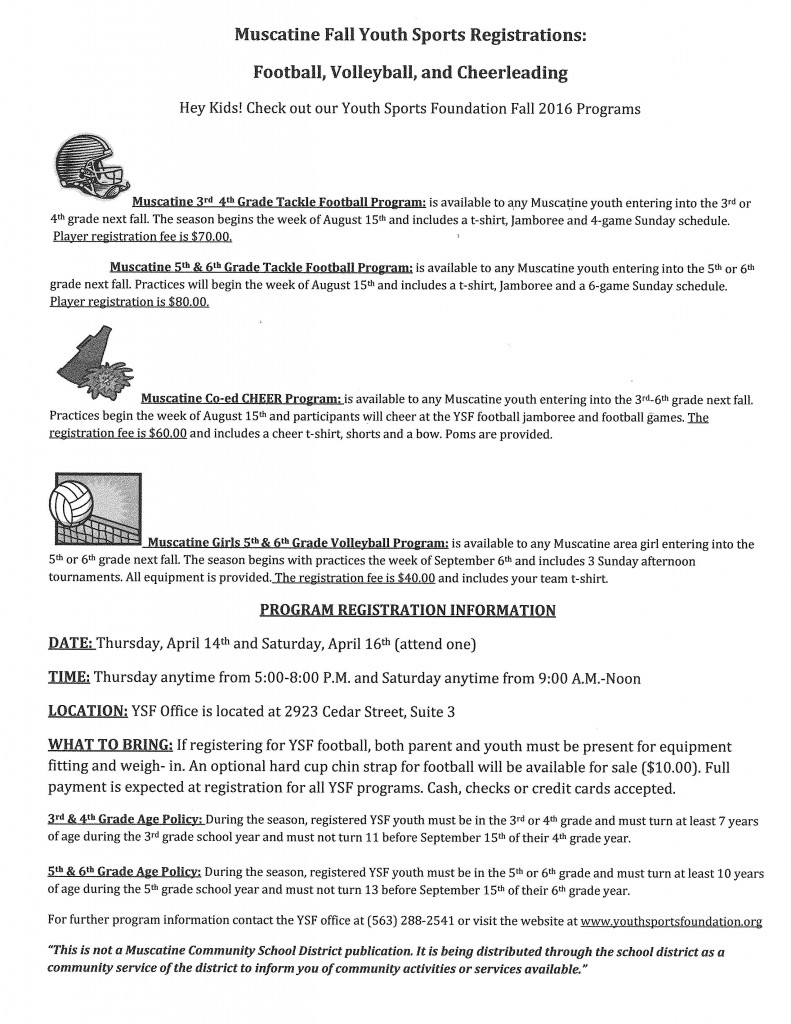 Youth Sports Fall Registration