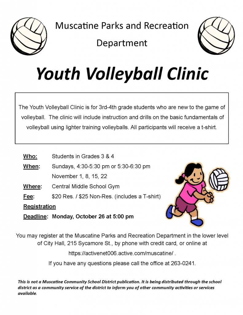Youth Volleyball Clinic School Flyer 2015